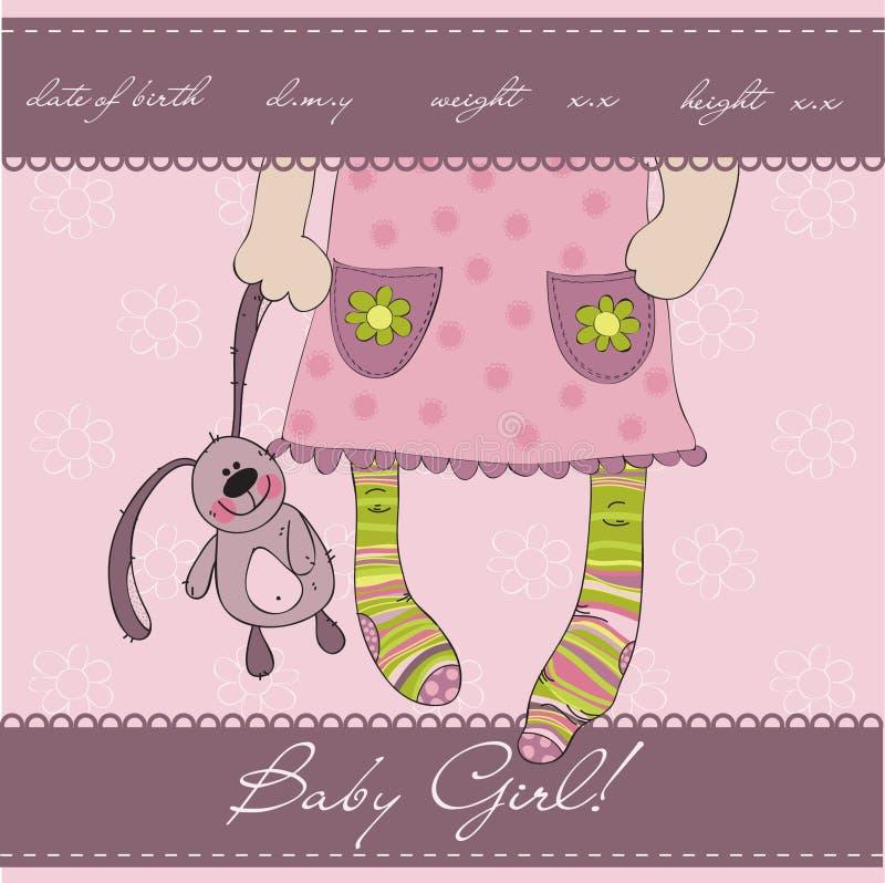 Cartão cor-de-rosa do anúncio da chegada do bebé ilustração do vetor