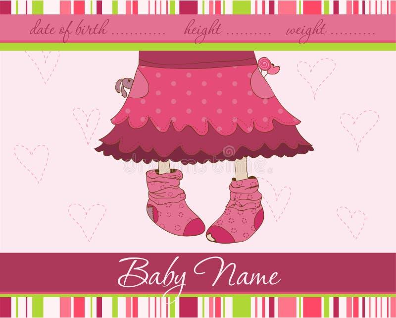 Cartão cor-de-rosa do anúncio da chegada do bebé ilustração royalty free