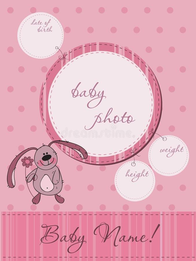 Cartão cor-de-rosa do anúncio do bebê ilustração royalty free