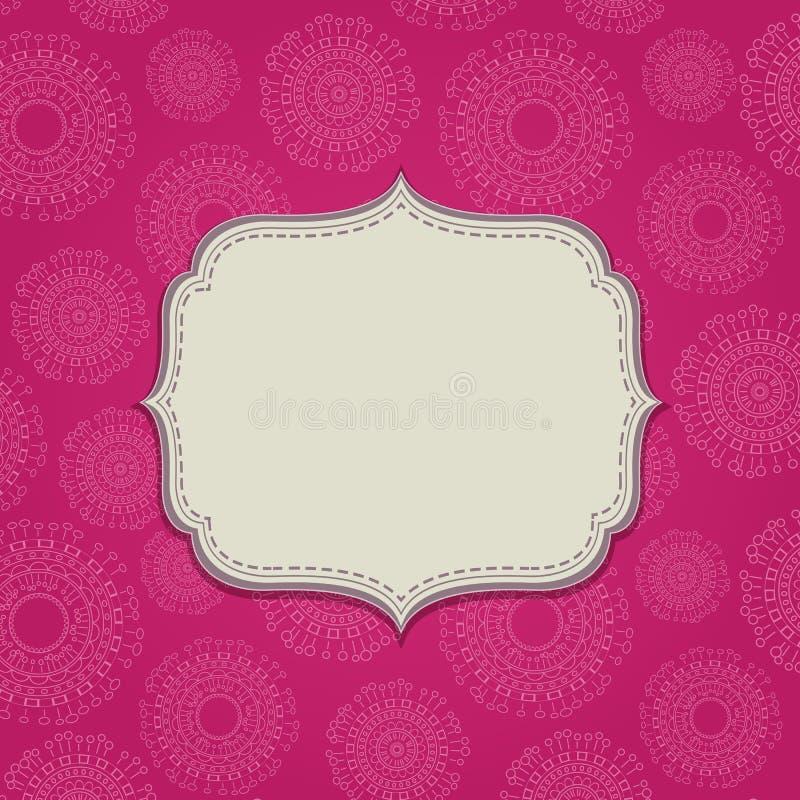 Cartão cor-de-rosa do convite com etiqueta vazia ilustração royalty free