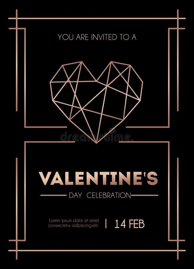 Cartão cor-de-rosa do convite do ouro do dia do ` s de Valenine Minimalistic Valenine ilustração stock