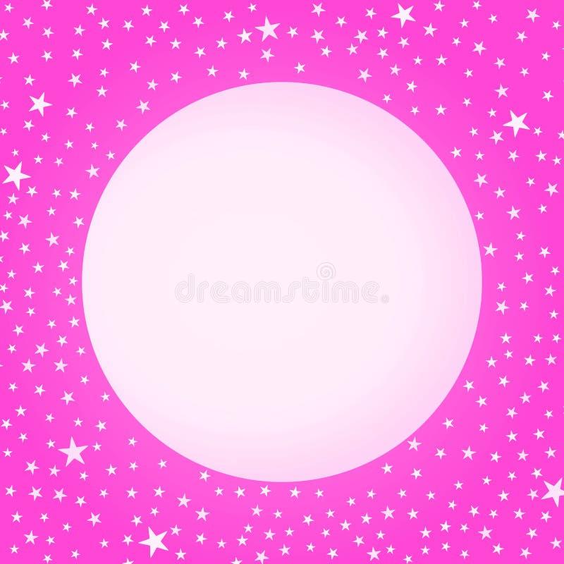 Cartão cor-de-rosa do dia de mães da lua e das estrelas ilustração stock