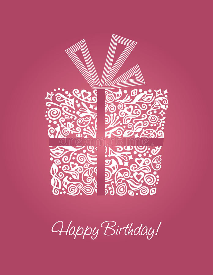 Cartão cor-de-rosa do feliz aniversario ilustração royalty free