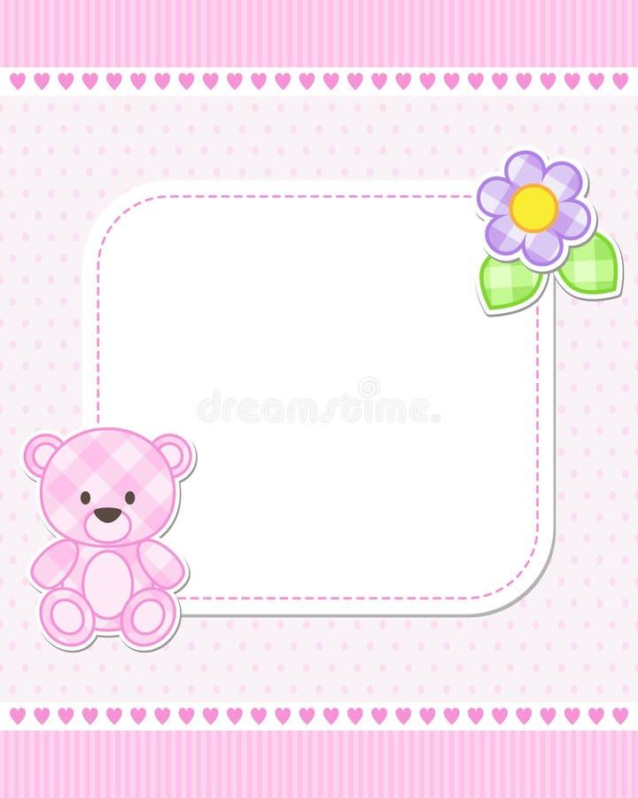 Cartão cor-de-rosa do urso de peluche ilustração stock
