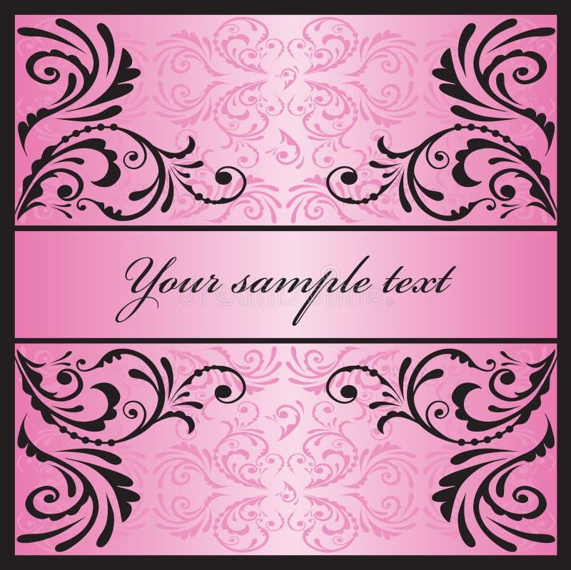 Cartão cor-de-rosa glamoroso. ilustração stock