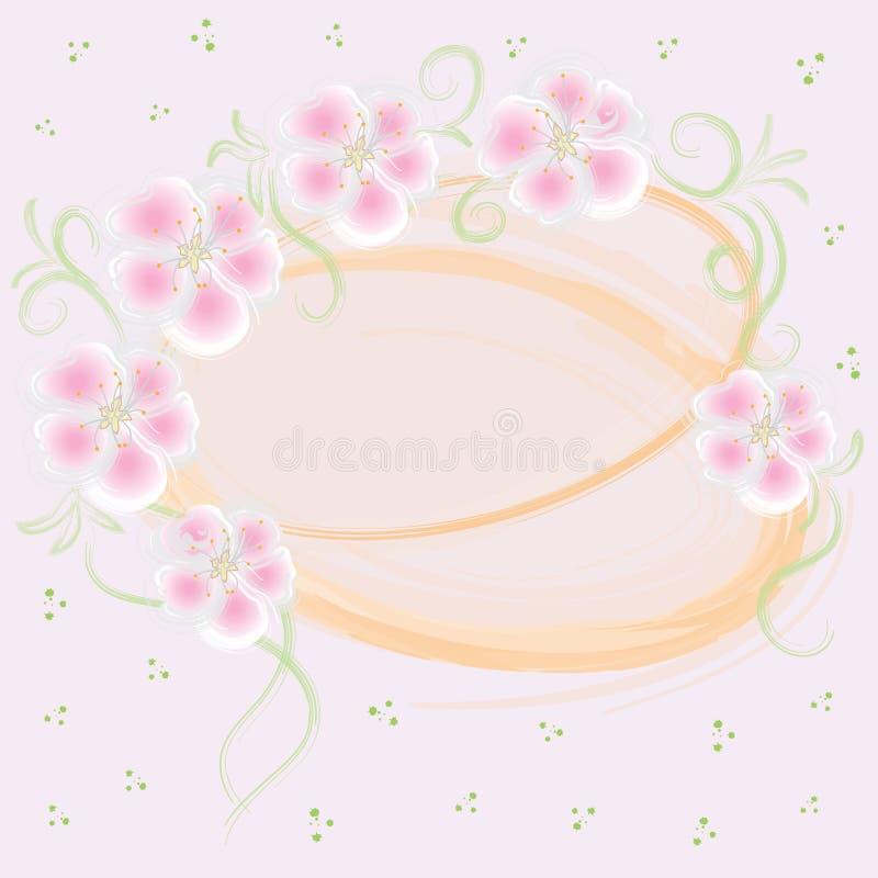 Cartão cor-de-rosa Wedding com elementos florais ilustração royalty free