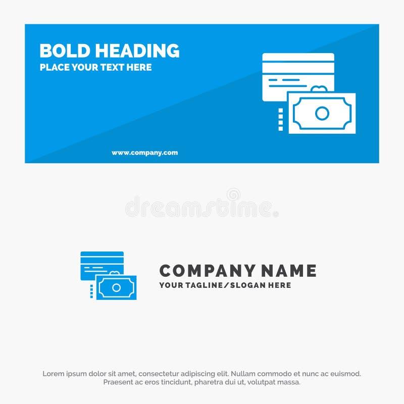 Cartão, crédito, pagamento, bandeira contínua do Web site do ícone do dinheiro e negócio Logo Template ilustração royalty free