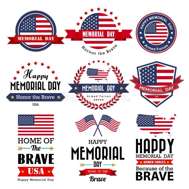 Cartão, crachá e etiquetas felizes do vetor de Memorial Day ilustração stock