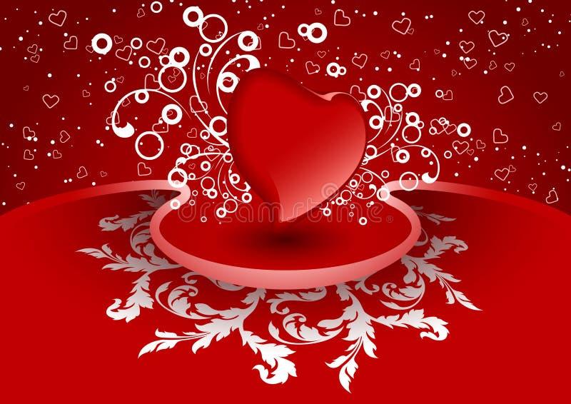 Cartão creativo do Valentim com coração na cor vermelha, vetor