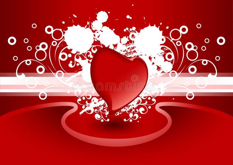 Cartão creativo do Valentim com coração na cor vermelha, vetor ilustração royalty free