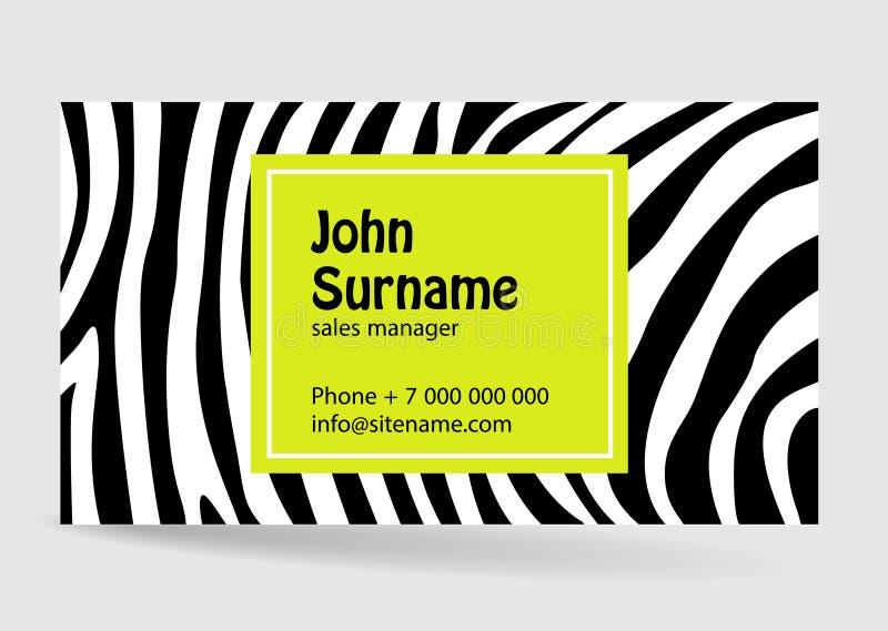 Cartão creativo Textura do teste padrão da zebra Projeto moderno ilustração stock
