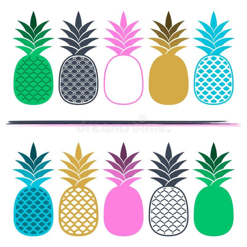 Cartão criativo com abacaxis coloridos ilustração do vetor
