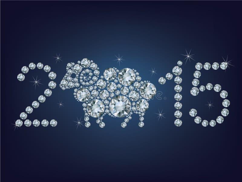 Cartão criativo do ano novo feliz 2015 com carneiros ilustração do vetor
