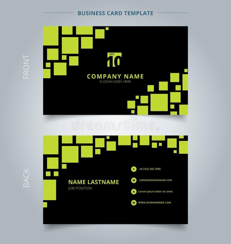 Cartão criativo e verde geométrico do molde do cartão de nome com referência a ilustração royalty free