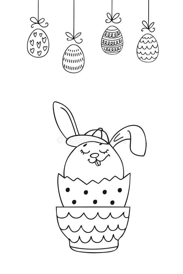 Cartão cristão dos feriados da mola com o coelhinho da Páscoa e os ovos tirados mão ilustração do vetor