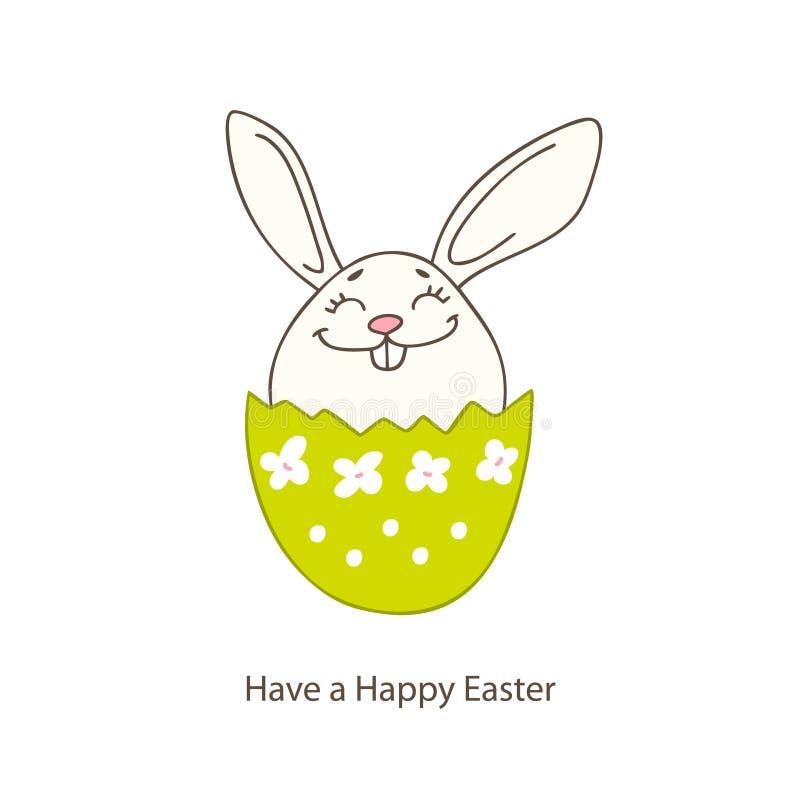 Cartão cristão dos feriados da mola com a Páscoa tirada mão b ilustração do vetor