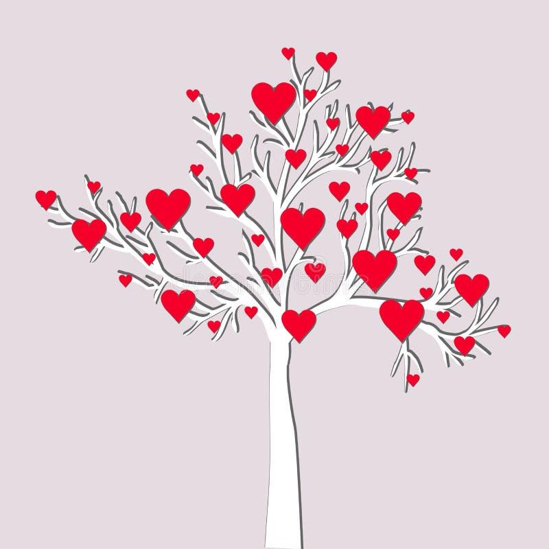 Cartão da árvore de amor ilustração royalty free