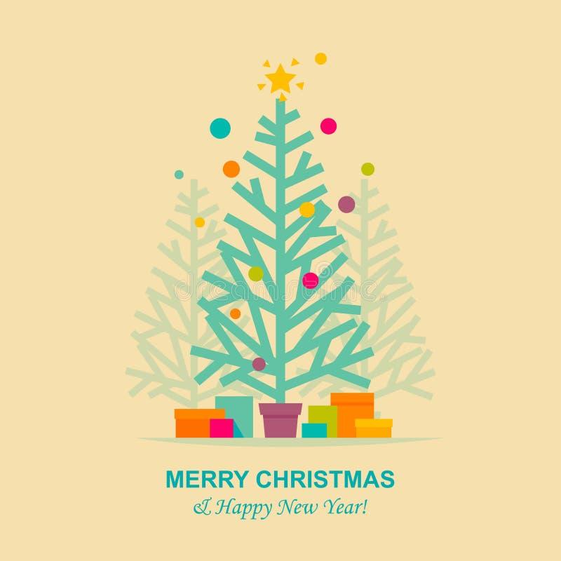 Cartão da árvore de Natal ilustração stock