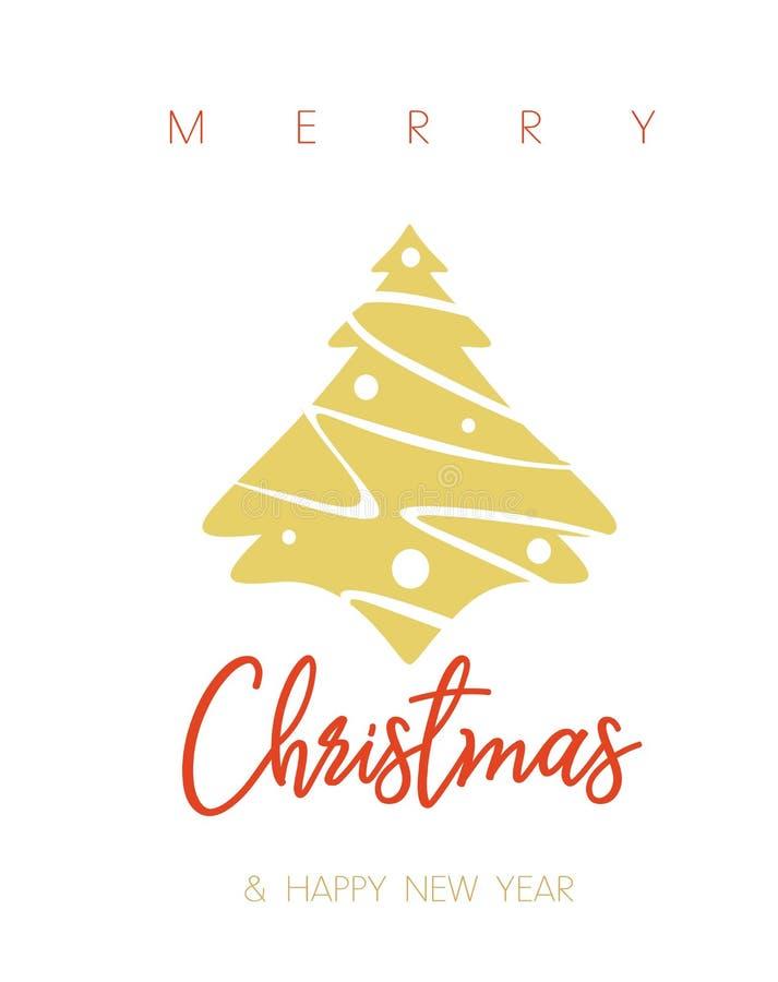 Cartão da árvore de Natal com desejos do Feliz Natal ilustração royalty free