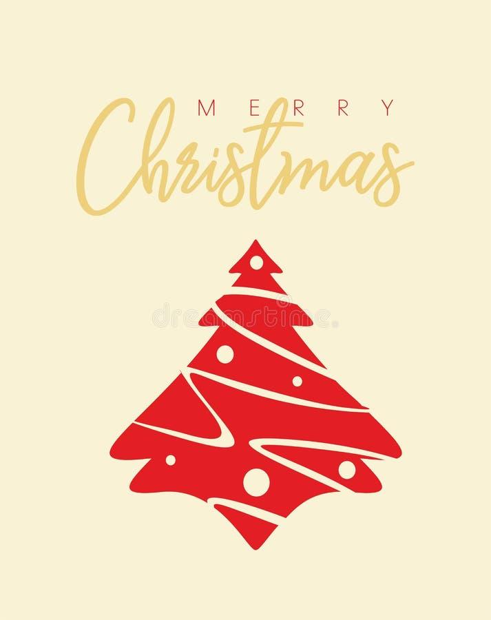 Cartão da árvore de Natal com desejos do Feliz Natal ilustração stock