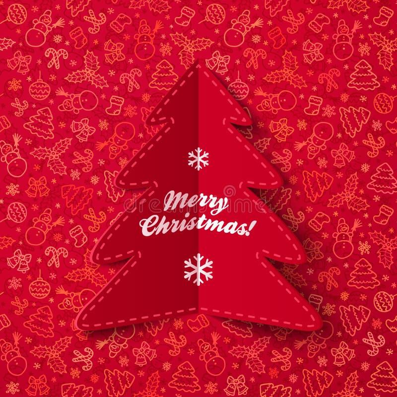 Cartão da árvore de Natal do papel verde com sinal ilustração royalty free
