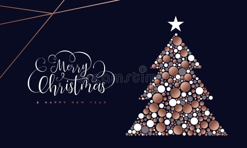 Cartão da árvore do círculo do Natal e do cobre do ano novo ilustração do vetor