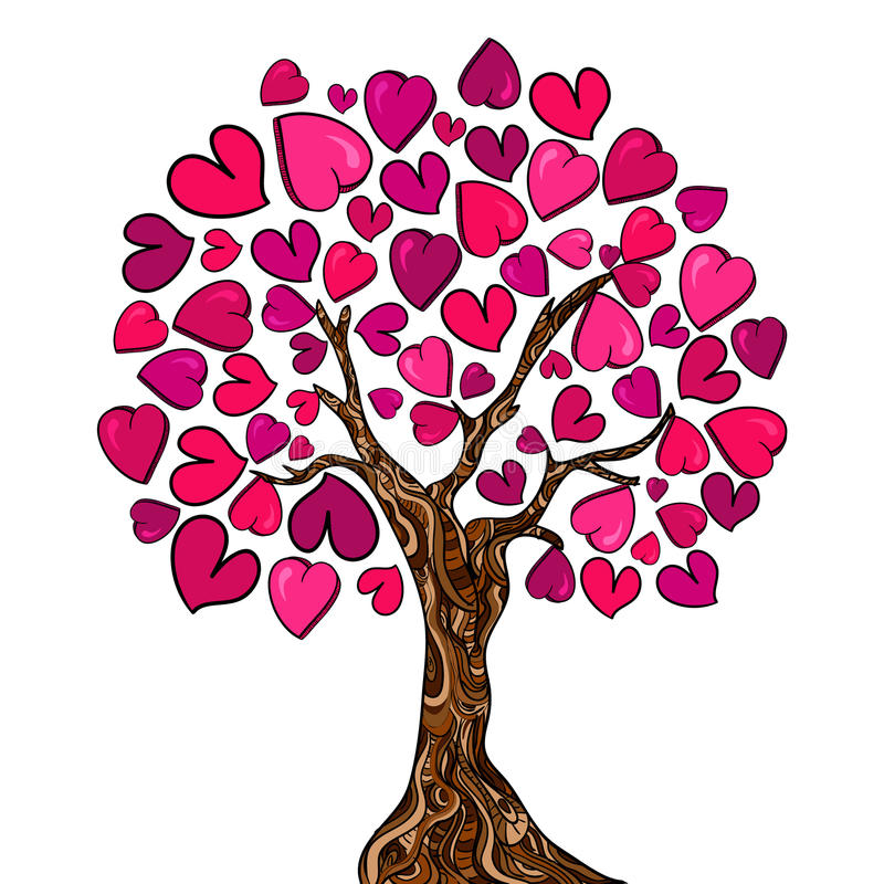 Cartão da árvore do conceito do amor ilustração do vetor