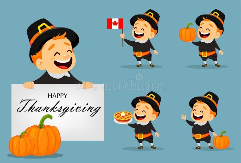 Cartão da ação de graças com homem canadense ilustração royalty free