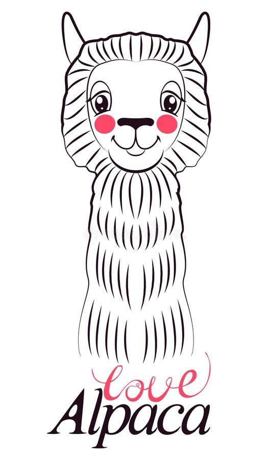 Cartão da alpaca do amor para o feriado e decoração com lama bonito esboço de uma alpaca de sorriso com linhas pretas ilustração do vetor