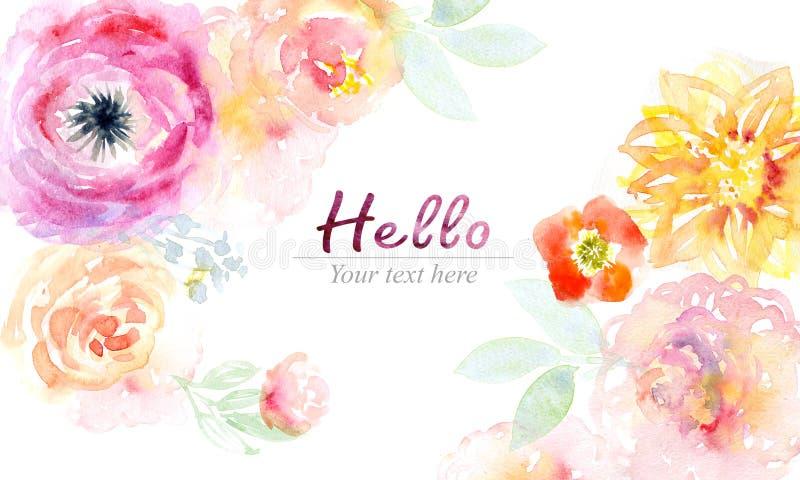 Cartão da aquarela com flores bonitas ilustração do vetor
