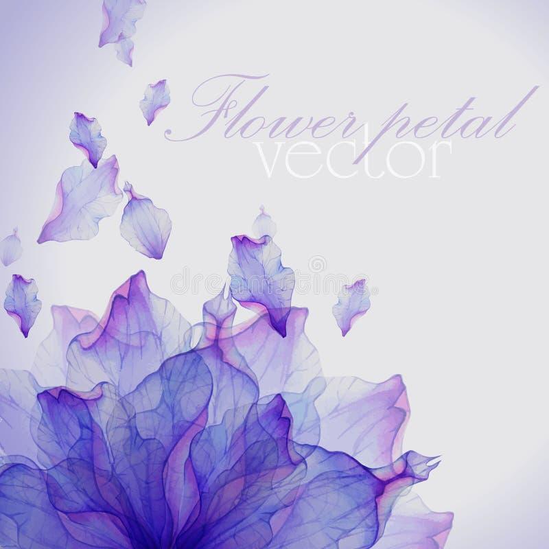Cartão da aquarela com a pétala roxa da flor ilustração royalty free