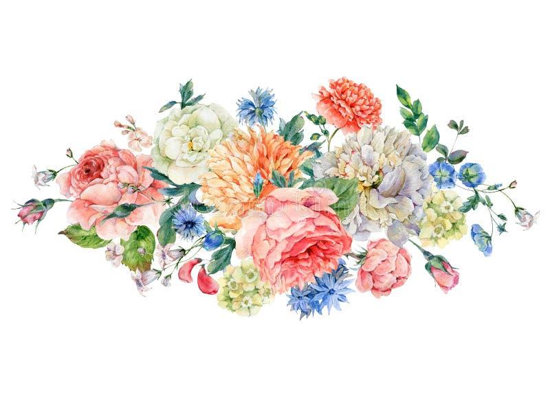 Cartão da aquarela com peônias, rosas ilustração do vetor