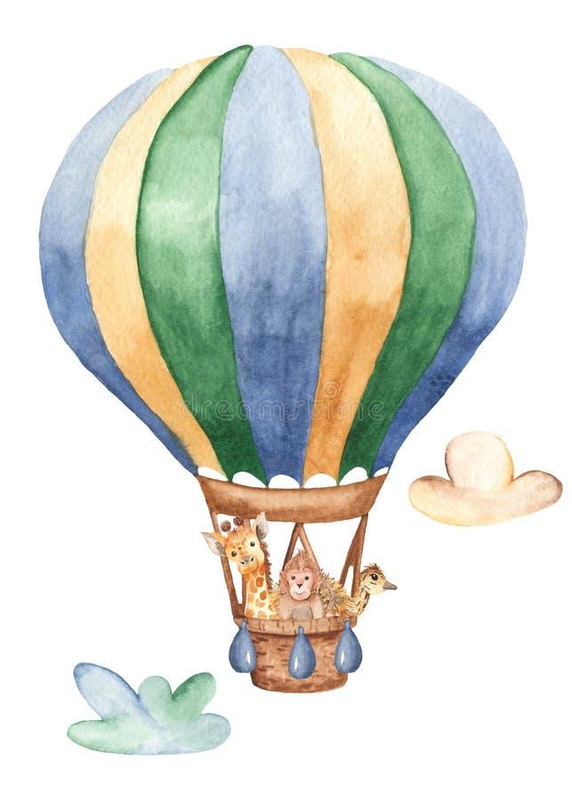 Cartão da aquarela com um balão e uns animais bonitos ilustração do vetor