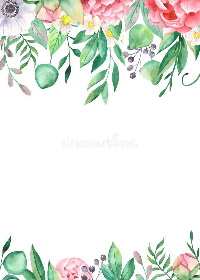 Cartão da aquarela das flores das peônias, folhas, anêmonas ilustração do vetor