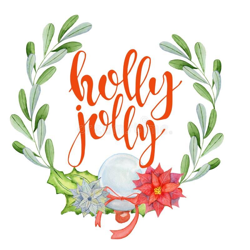 Cartão da aquarela do Feliz Natal com elementos florais do inverno Azevinho das citações da rotulação do ano novo feliz agradavel ilustração stock