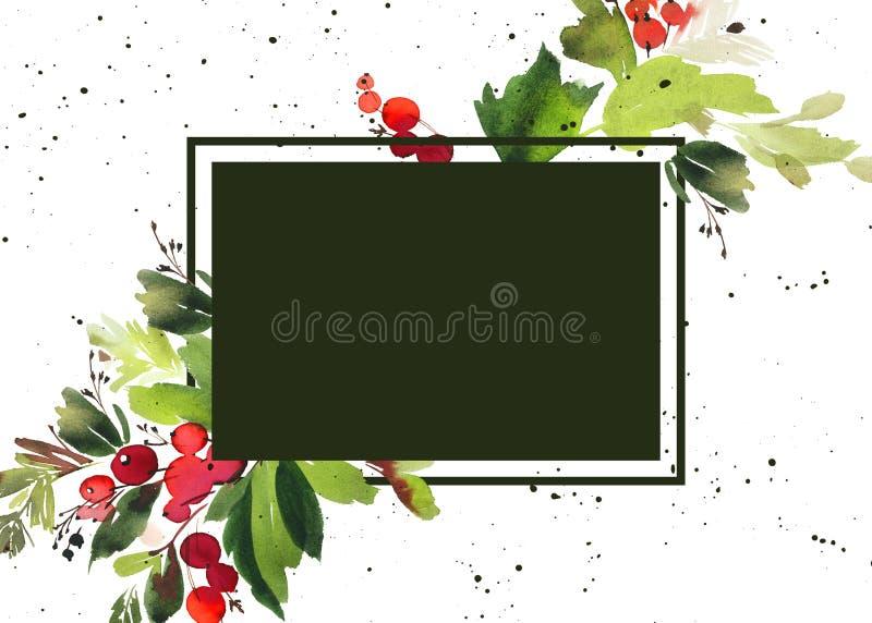 Cartão da aquarela do Natal ilustração stock