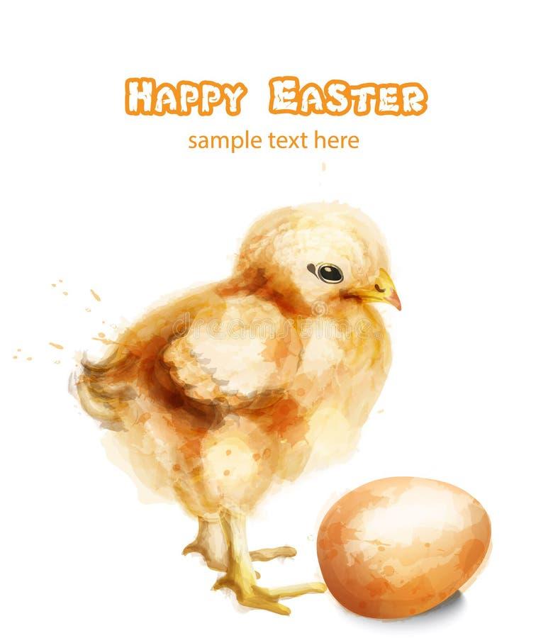 Cartão da aquarela do vetor do pintainho da Páscoa Cumprimentos felizes da Páscoa com galinha e ovos ilustração royalty free