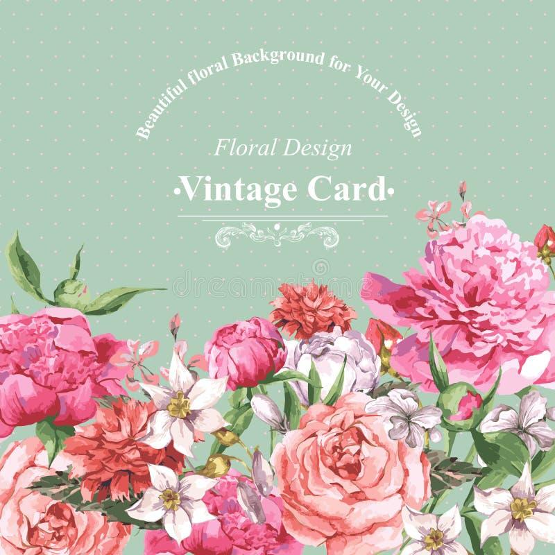 Cartão da aquarela do vintage com flores de florescência Rosas, Wildflowers e peônias ilustração royalty free