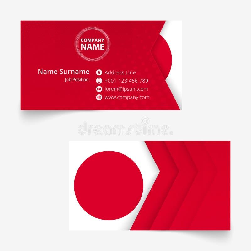 Cartão da bandeira de Japão, molde do cartão do tamanho padrão 90x50 milímetro ilustração stock