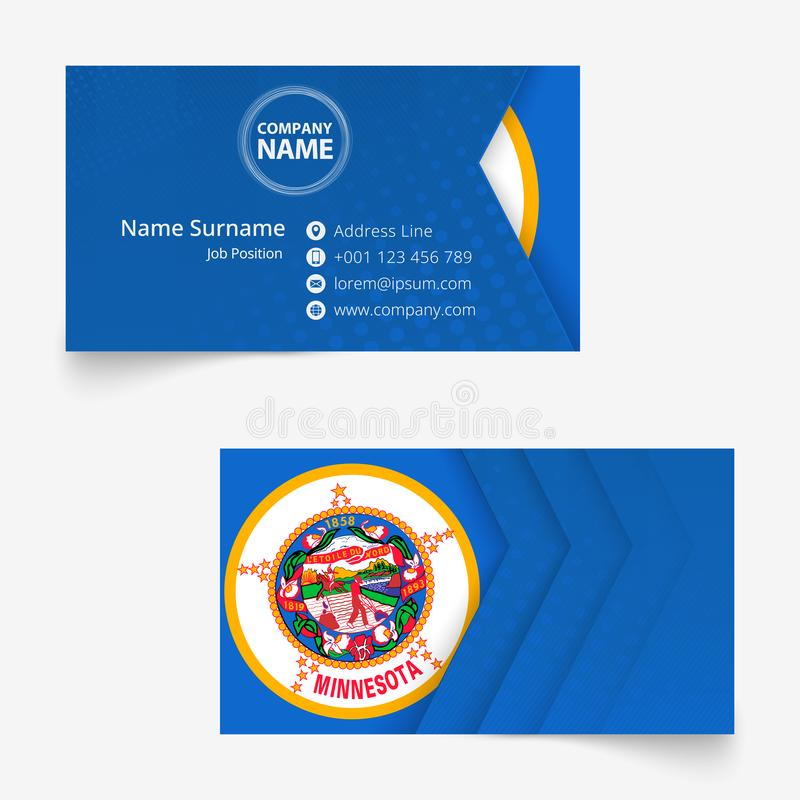 Cartão da bandeira de Minnesota, molde do cartão do tamanho padrão 90x50 milímetro ilustração stock