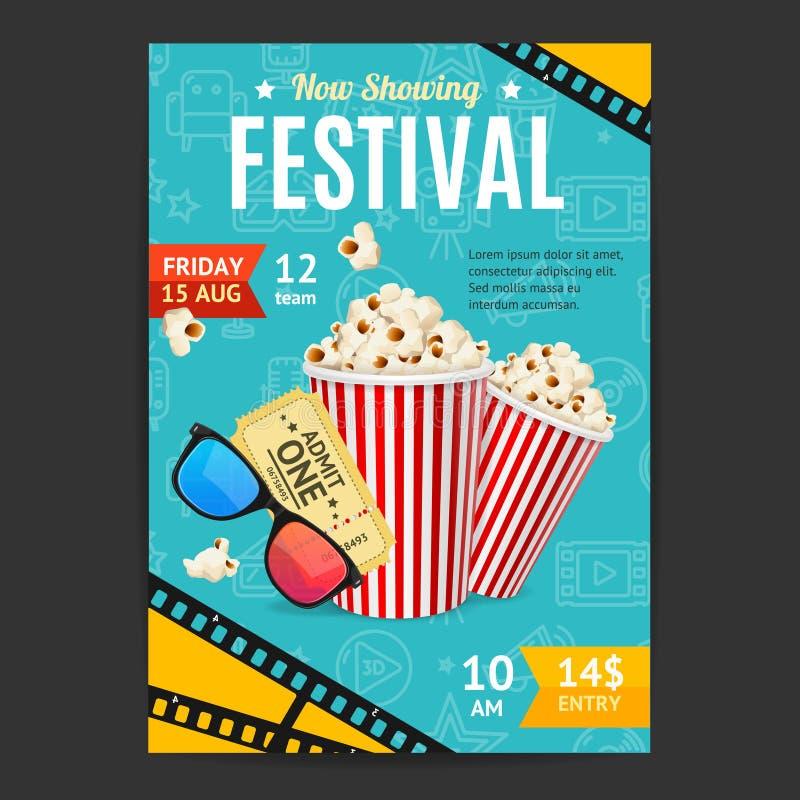 Cartão da bandeira do cartaz do festival do filme do cinema Vetor ilustração royalty free