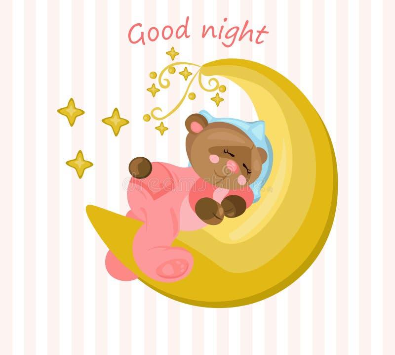 Cartão da boa noite com o urso de peluche que dorme no vetor da lua ilustração stock