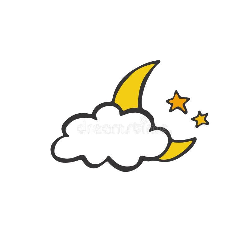 Cartão da boa noite Ilustração da garatuja da lua da noite Projeto da etiqueta Engrena o ícone ilustração stock