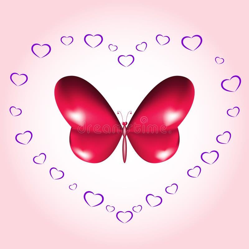 Cartão da borboleta do coração ilustração royalty free