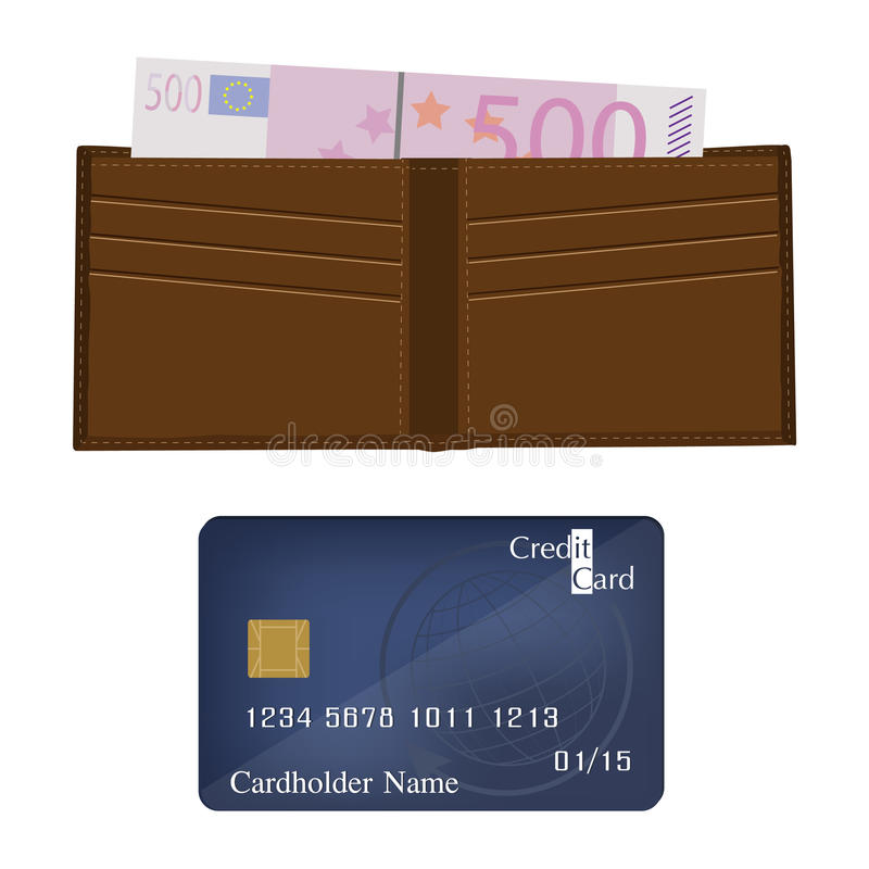 Cartão da carteira, do dinheiro e de crédito ilustração do vetor