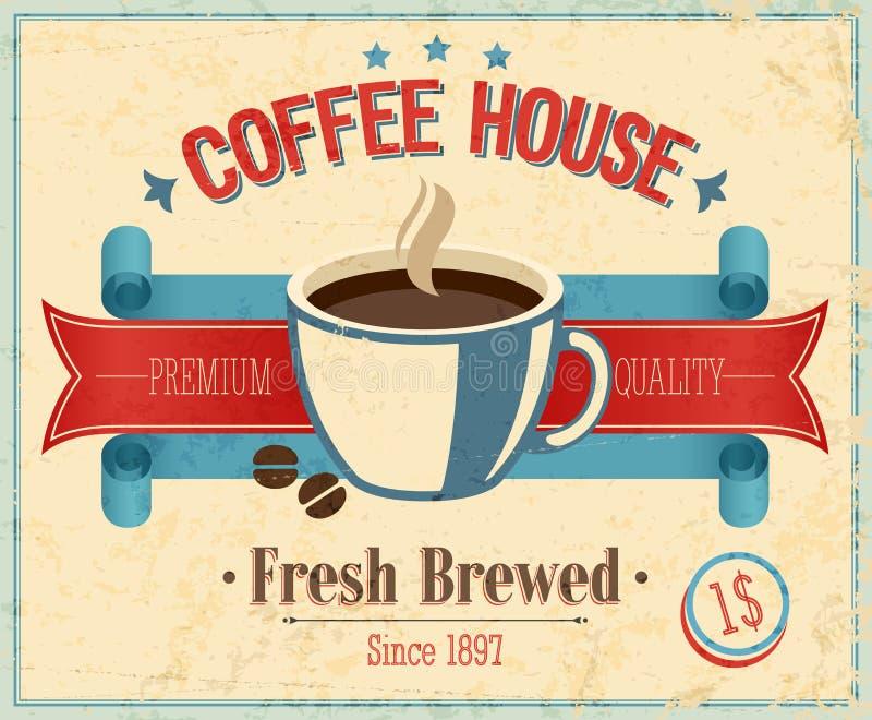 Cartão da casa de café do vintage. ilustração do vetor