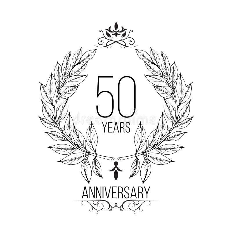 cartão da celebração de um aniversário de 50 anos ilustração do vetor