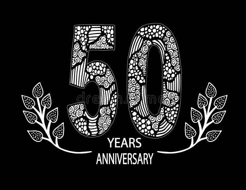 cartão da celebração de um aniversário de 50 anos - vetor ilustração do vetor