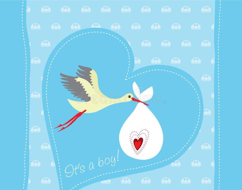 Cartão da chegada do bebé ilustração royalty free