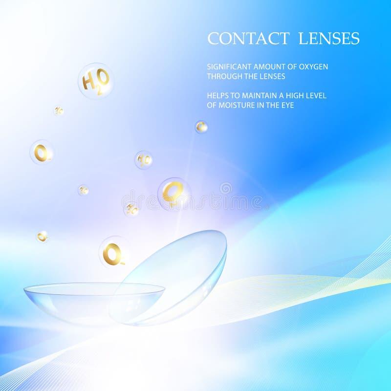 Cartão da ciência com lentes de contato ilustração royalty free